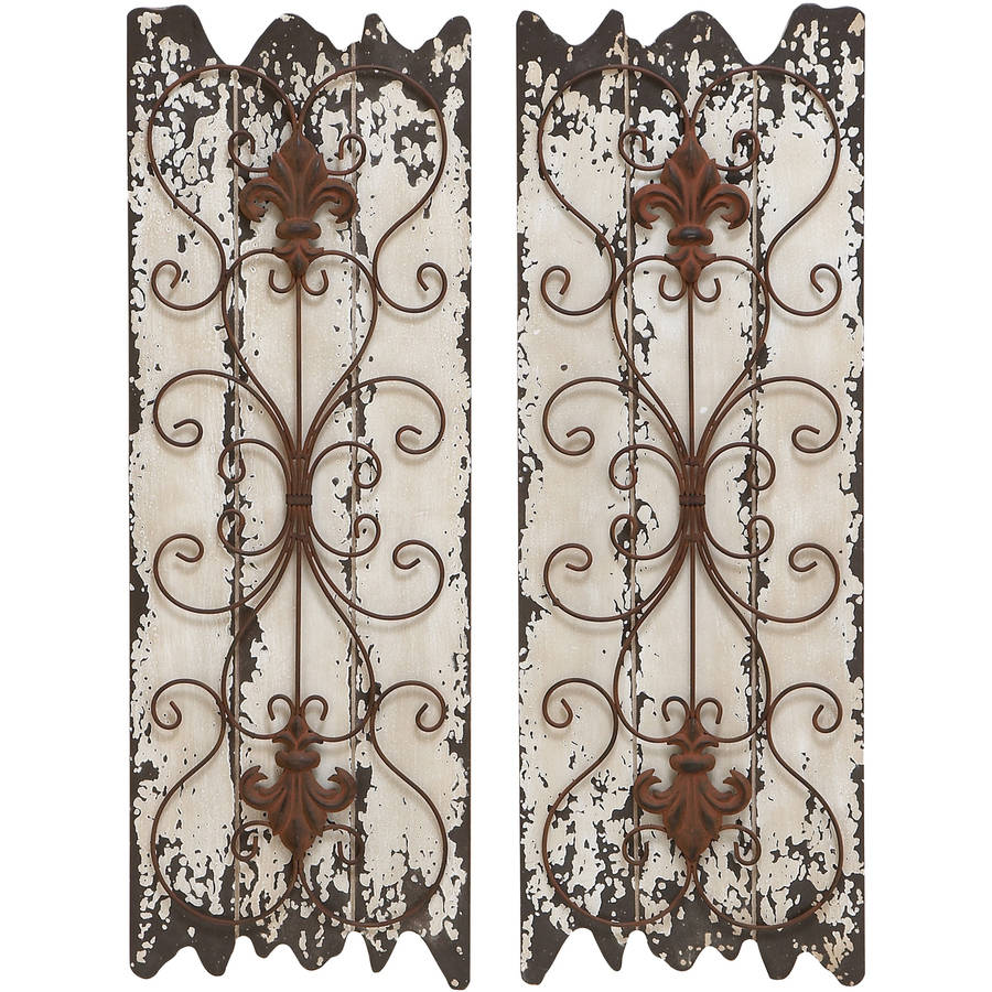 Decmode Wood and Metal Wall Decor, Set of 2, Multi Color