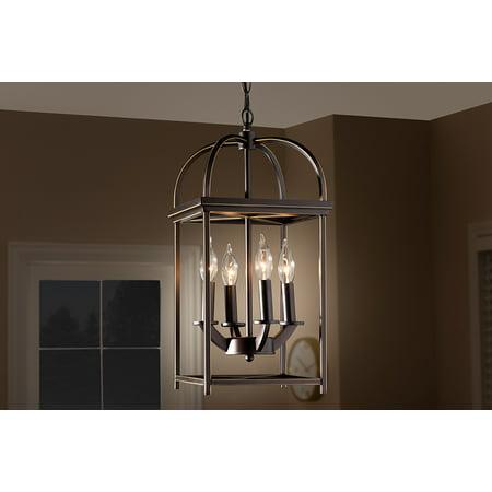 Braxton 5 Light Pendant (Baxton Studio Linez Vintage Rustic Farmhouse Dark Bronze Metal 4-Light Lantern Pendant Light)