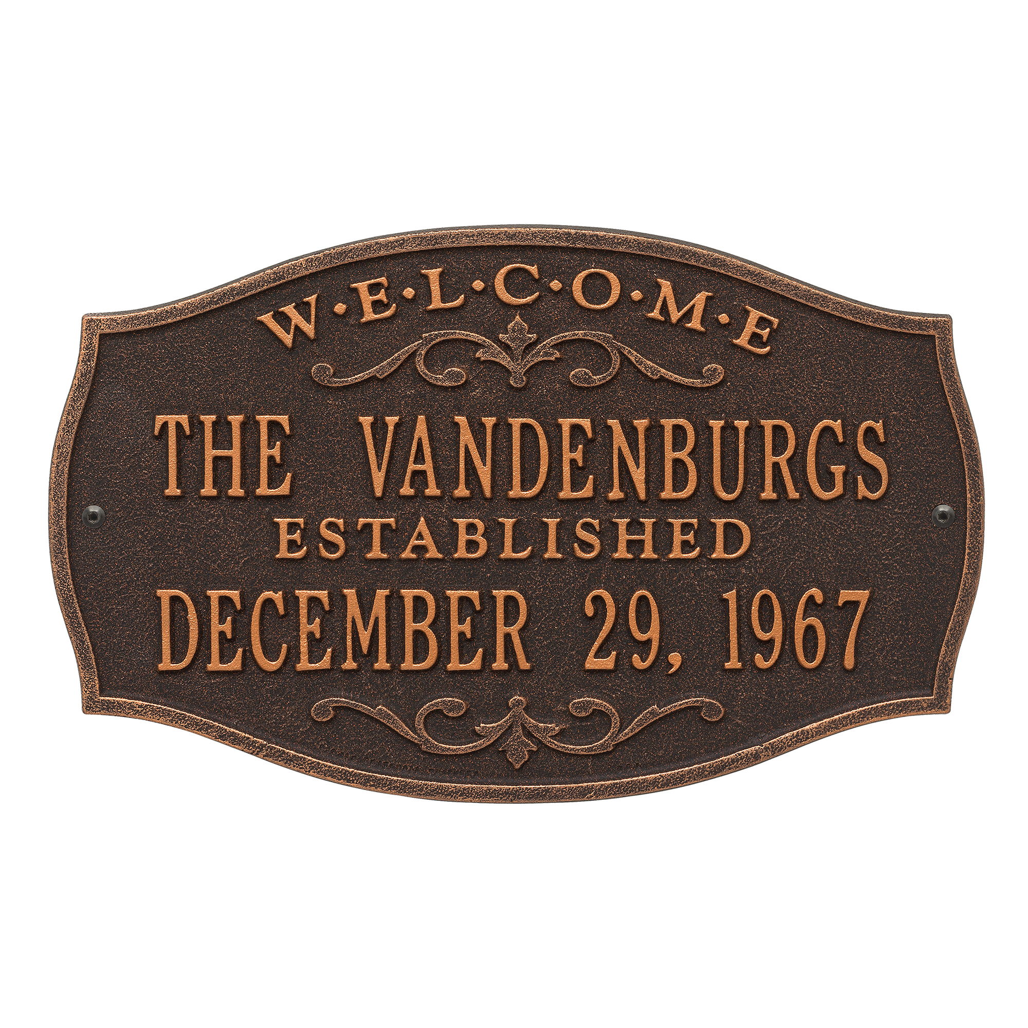 Personalized Brookfield Welcome Anniversary Plaque in Oil Rubbed Bronze
