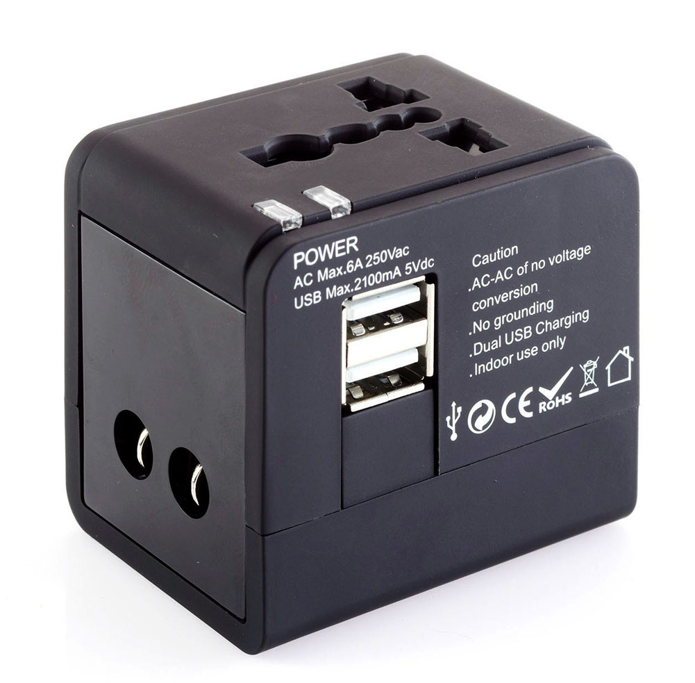 Smooth Trip International Adapter Cube with Dual USB Chargers Black ST-E20BLK
