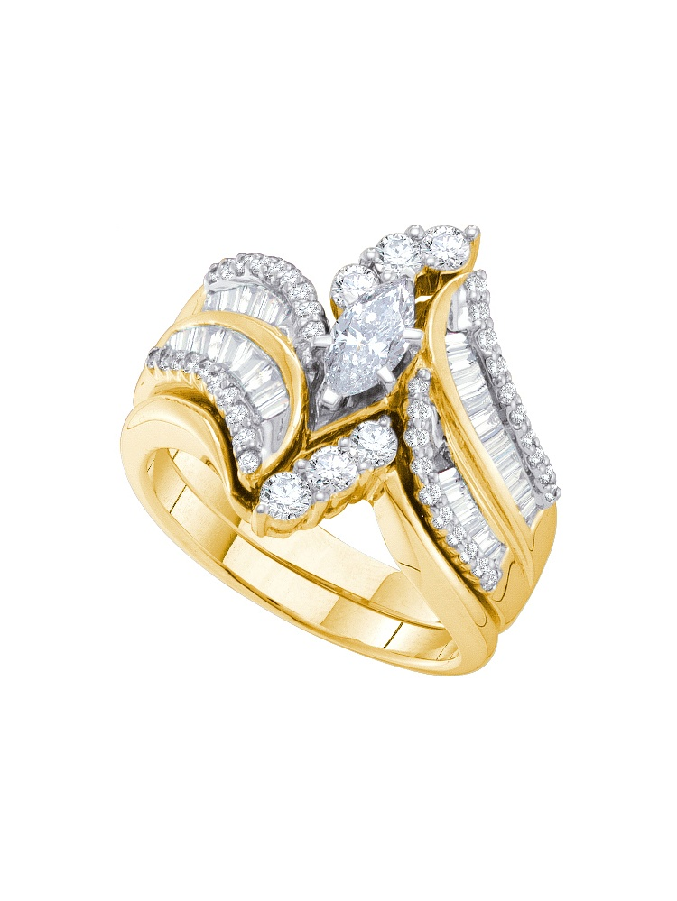14kt Yellow Gold Womens Marquise Diamond Bridal Wedding Engagement Ring Band Set ( 1.50 cttw.) by Mia Diamonds