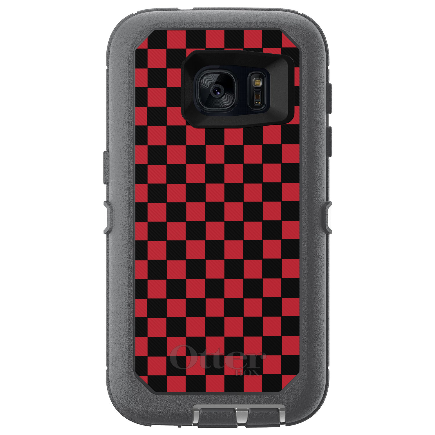 DistinctInk™ Custom Grey OtterBox Defender Series Case for Samsung Galaxy S7 - Red Black Checkered Flag Geometric
