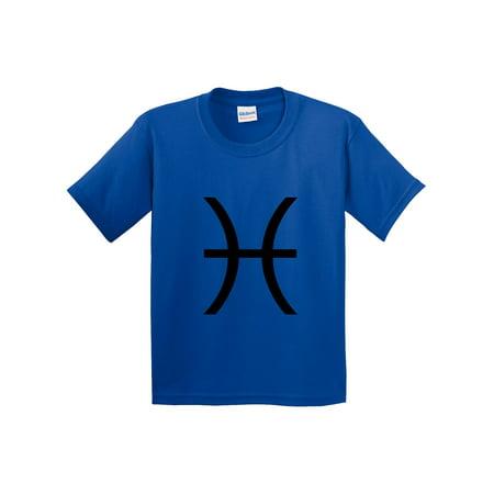 New Way 959 - Youth T-Shirt Pisces Symbol Zodiac Sign The Fish Medium Royal Blue (International Royal Danish Fish)