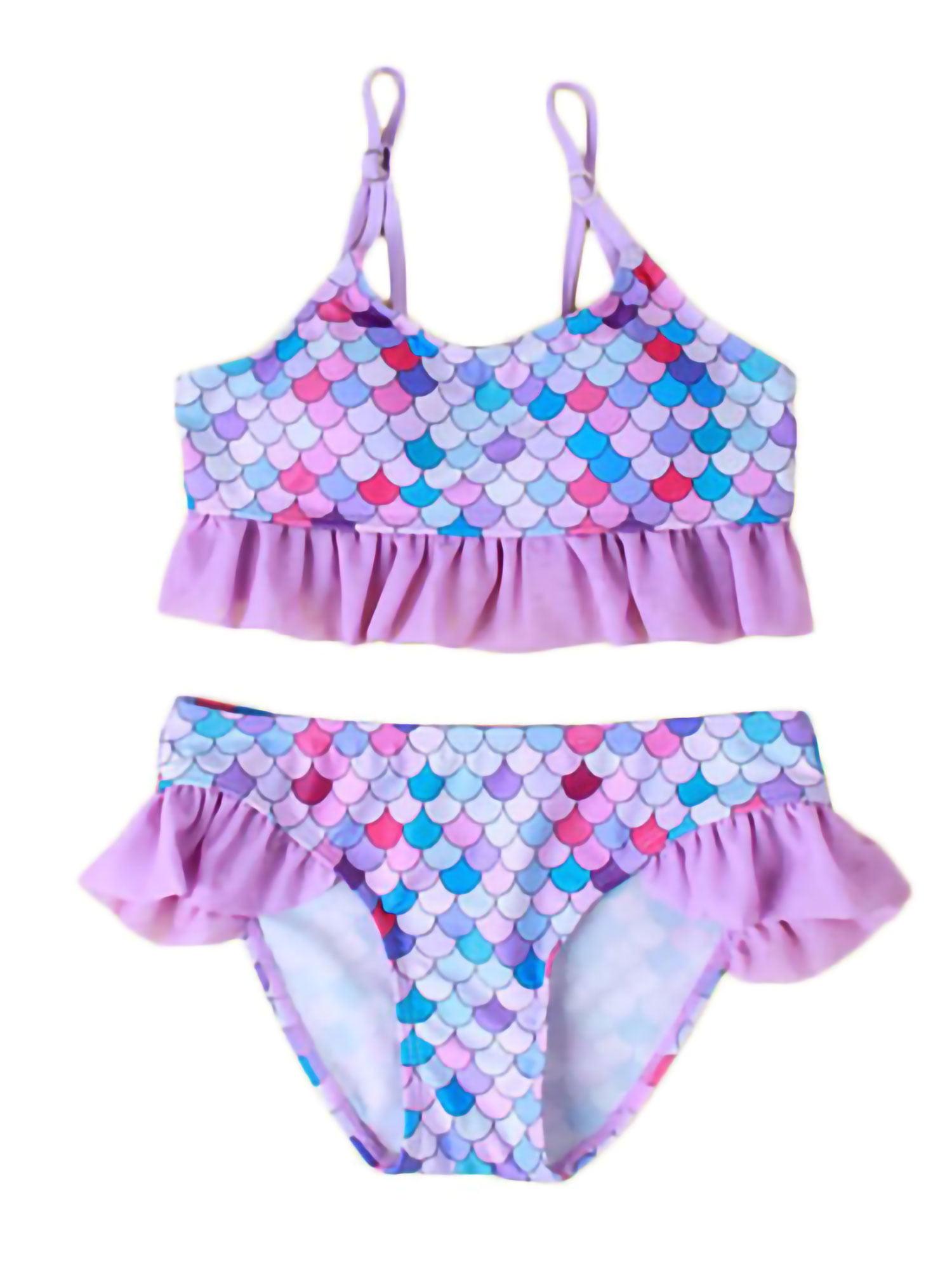 Girls Two Piece Printed Bikini Set Swimwear Kids Swimsuit Bathing Suit Beachwear