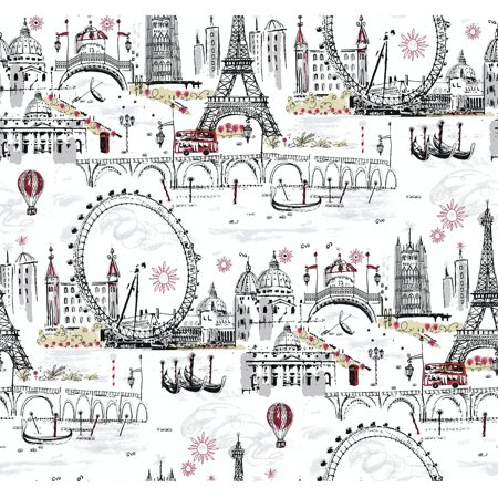 Black & White Novelty Euro Scenic Wallpaper (Black And White Halloween Wallpaper)