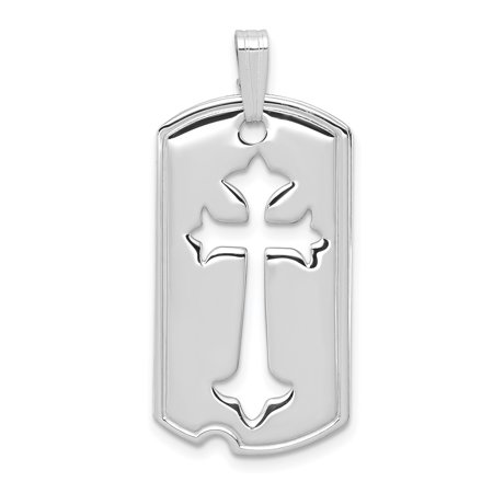 925 Sterling Silver Dog Tag Cut Out Cross Religious Pendant Charm Necklace Budded Gifts For Women For Her