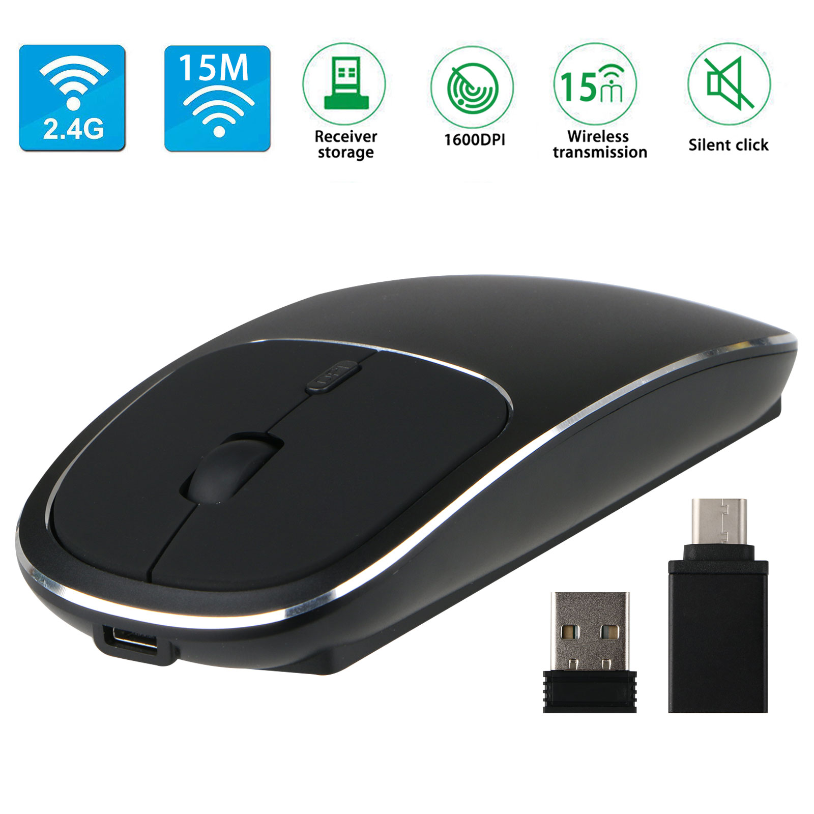 EEEKit Rechargeable Wireless Mouse, 2.4G Slim Mute Silent Click Noiseless USB Optical Mice for Macbook Windows 2000/ 2003/ ME/ XP/ Vista/ Win7/ 8/ 10/ MAC OS/ Linux Laptop Computer