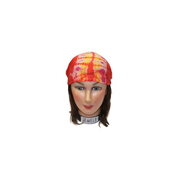 Center Tye Dye Multi Embroidery Headbands / Head wrap / Yoga Headband / Head Sarf / Best Looking Head Band for Sports or Fashion, or Exercise (Red)