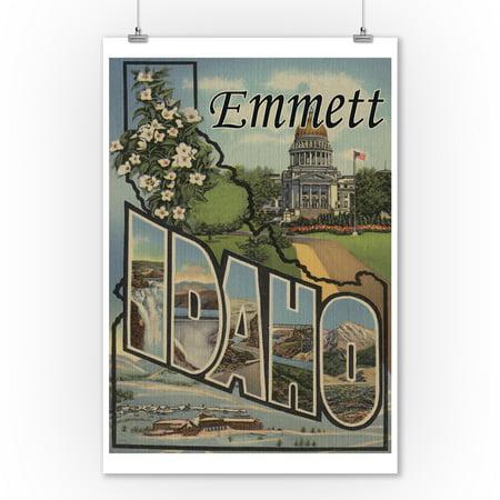 Emmett, Idaho - Large Letter Scenes (9x12 Art Print, Wall Decor Travel Poster)