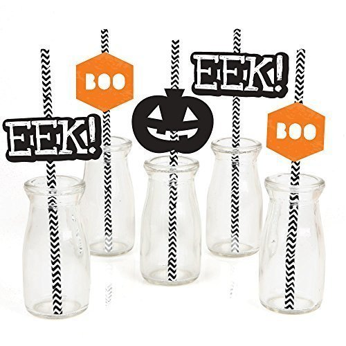 Eat, Drink and Be Scary - Chevron Black and Orange - Halloween Party Straw Decor with Paper Straws - Set of 24