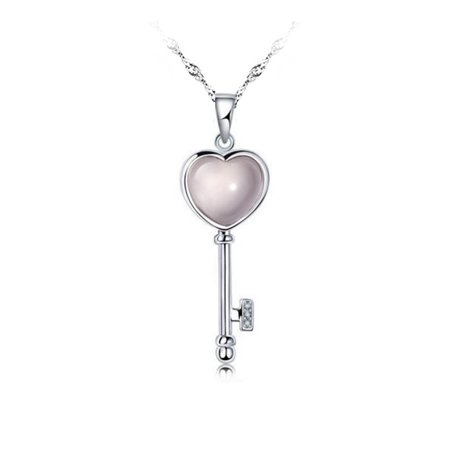 Emma Manor Love Key Necklace 14k White Gold Plated Light Pink Madagascar Moonstone Pendant Necklace for Women, 18