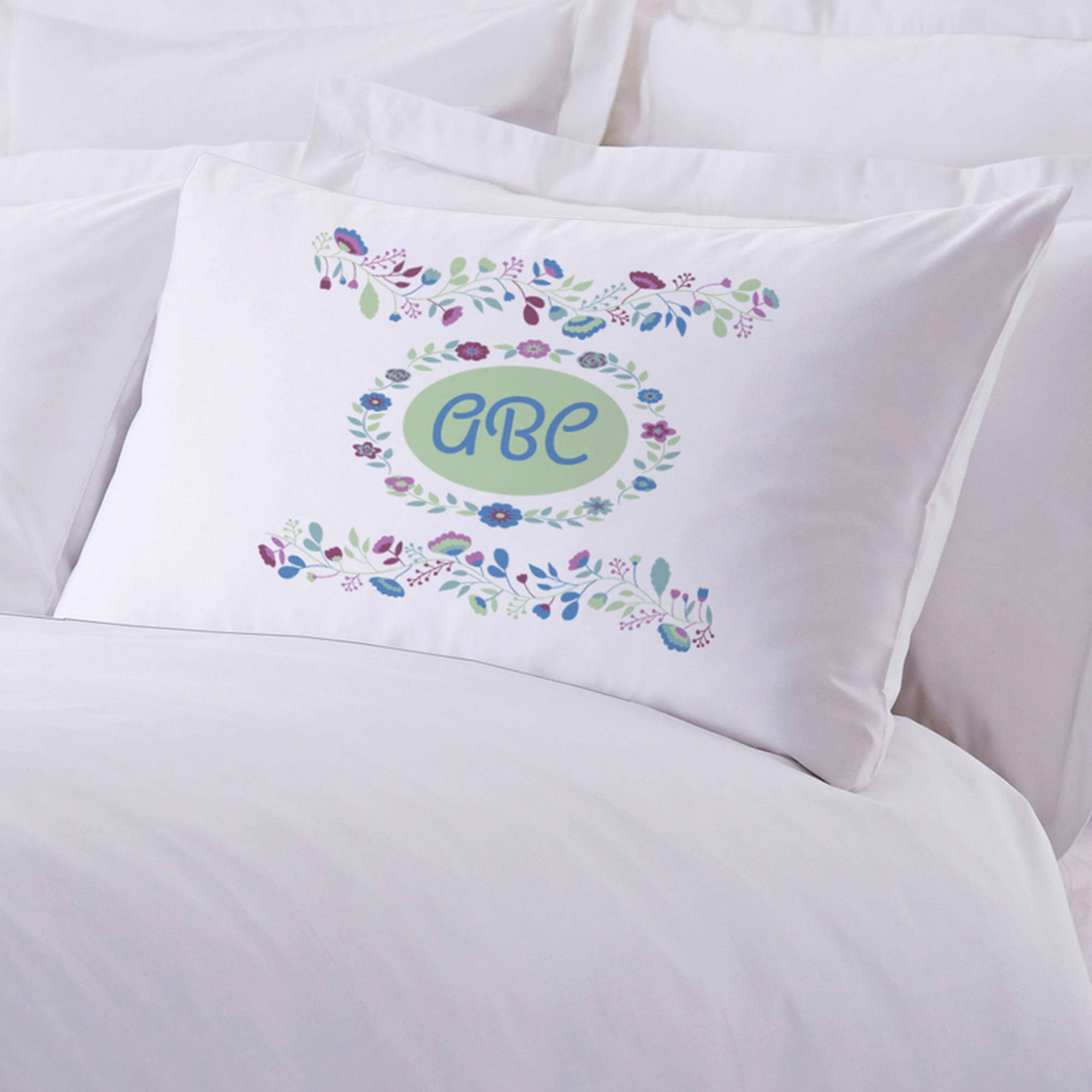 "Personalized Sleeping Floral Pillow Case, 20"" x 30"""