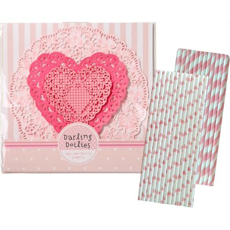 Pink Heart Doily Set - 30 Pk. and 50 Pink Paper - Pink Paper Doilies