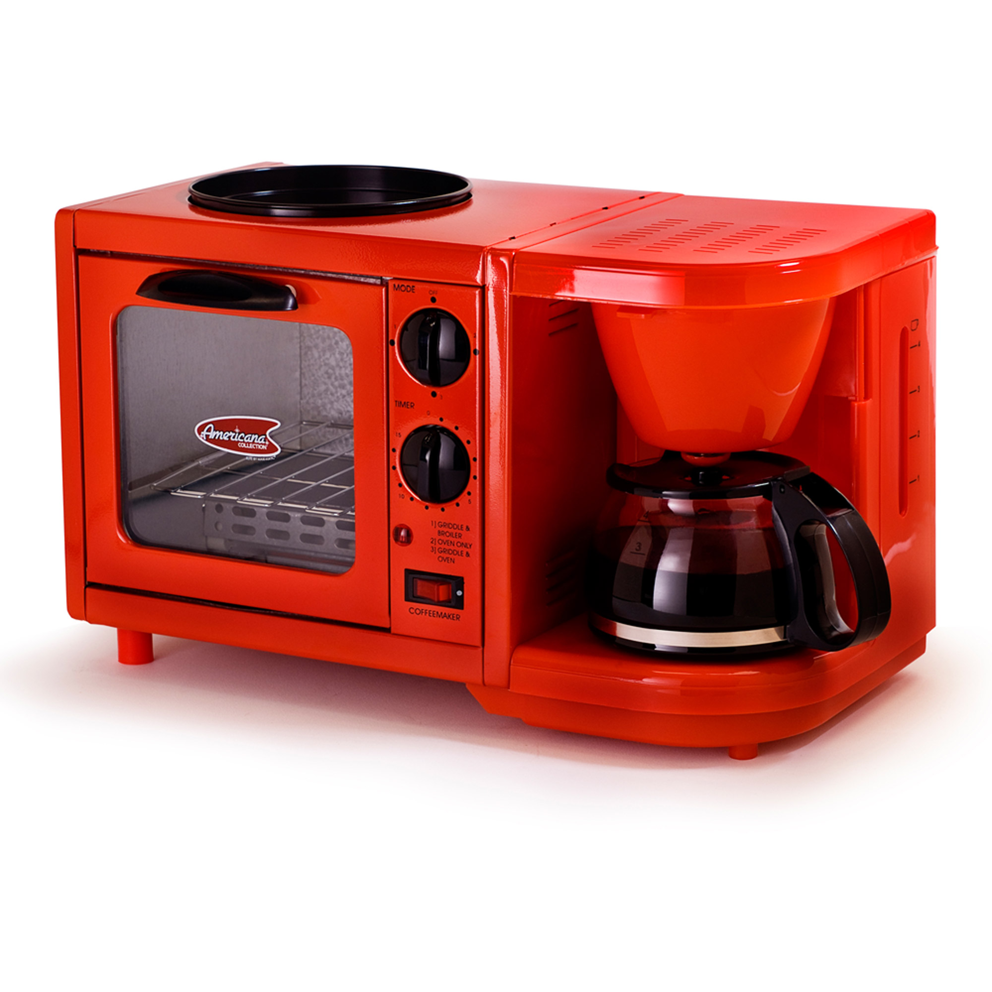 Americana by Elite EBK-200R 3-in-1 Mini Breakfast Shoppe, Coffee, Toaster Oven, Griddle, Robin Red by Maxi Matic