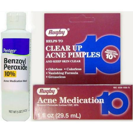 Rugby Acne Medication Benzoyl Peroxide Lotion 10% 1 oz