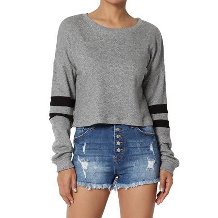 Dolman Crop - TheMogan Junior's Striped Dolman Long Sleeve Crop Top Loose Fit Cropped Sweatshirts