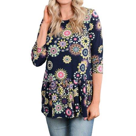 - 711ONLINESTOR Women Round Neck 3/4 Sleeve Floral Print Peplum Blouse