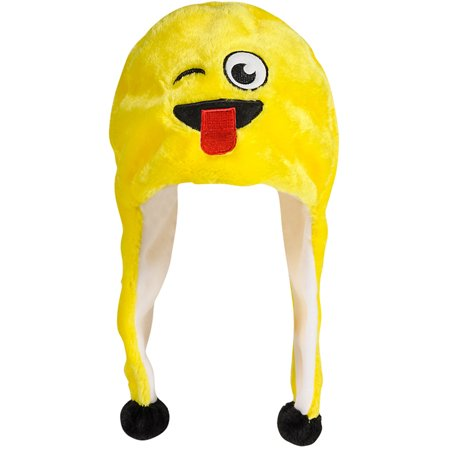 Adults Winking With Tongue Emoticon Emoji Winter Toque Hat Costume Accessory