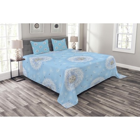 - Floral Bedspread Set, Dandelion Petals Flying Fluffy Soft Flora in Pastel Tones Spring Romantic Design, Decorative Quilted Coverlet Set with Pillow Shams Included, Sky Blue White, by Ambesonne