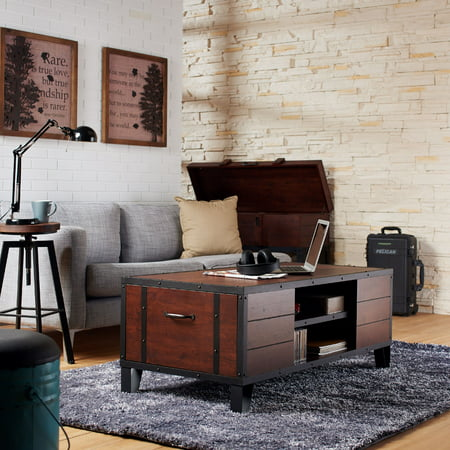 (Furniture of America Gorga Industrial Coffee Table, Vintage Walnut)