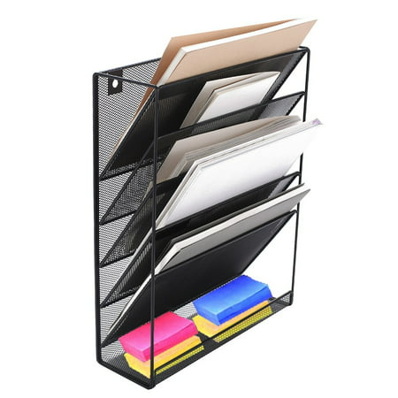Wall Mount File Organizer Holder 5 Pocket Metal Mesh Hanging Folder Magazine Mail Rack for Office Home Study Room, Black