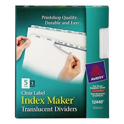 Index Maker Clear Label Punched Dividers, 5-Tab, Letter, 5 (Index Maker Laser Punched)