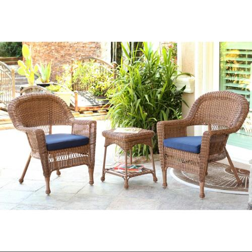 3-Piece Honey Resin Wicker Patio Chairs and End Table Furniture Set - Blue Cushions