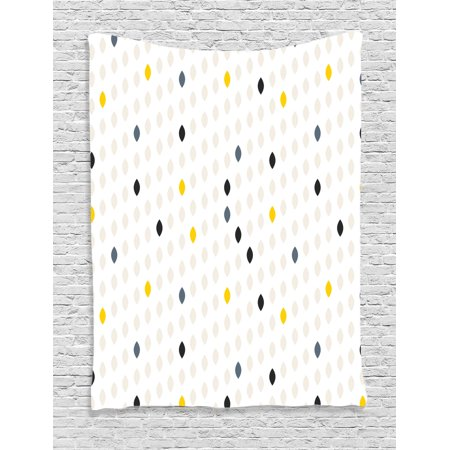 House Decor Wall Hanging Tapestry, Modern Style Geometric Shapes Polka Dot Tear Drop Forms Pattern Graphic Art Print, Bedroom Living Room Dorm Accessories, By (Tear Drop Shape)