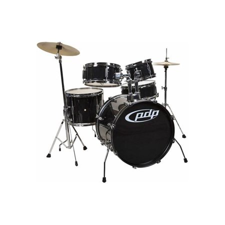 Drum Workshop PDJR18KTCB Drum Set Player Kit Cymbals Throne, Black - 5 Piece Five Piece Drum Kit