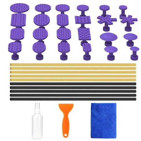Auto Body Paintless Dent Removal Tools Kit with 24pcs Glue Pulling Tabs and 10pcs Glue Sticks For Car Hail Damage And Door Dings
