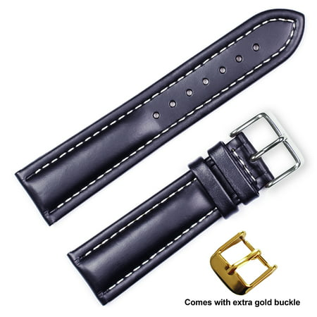 deBeer brand Breitling Style Oil Tanned Leather Watch Band (Silver & Gold Buckle) - Black 18mm