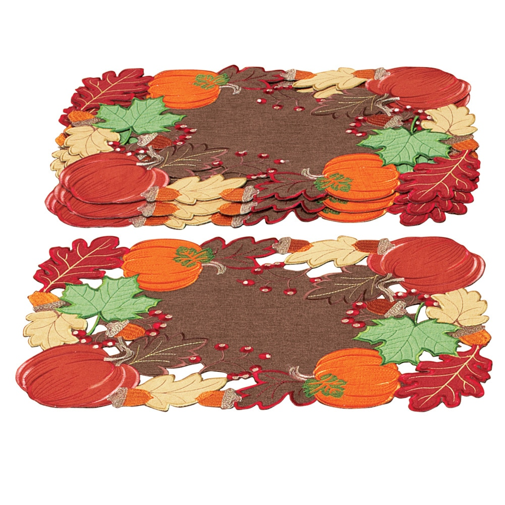 Harvest Pumpkin And Leaves Table Linens, Placemats by Collections Etc