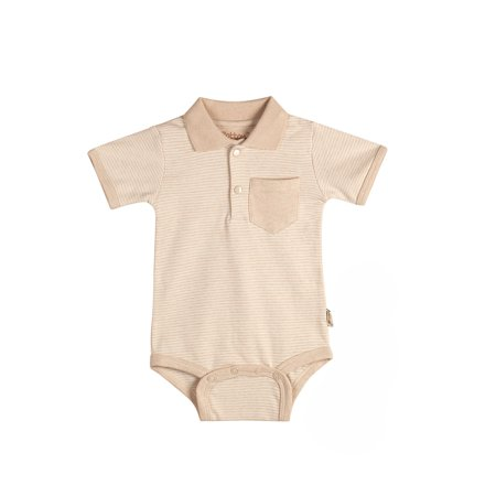 Collar Onesie - Eotton Certified Organic Cotton Baby  Bodysuit in Light Brown with Collar - Small (3-6 Months)