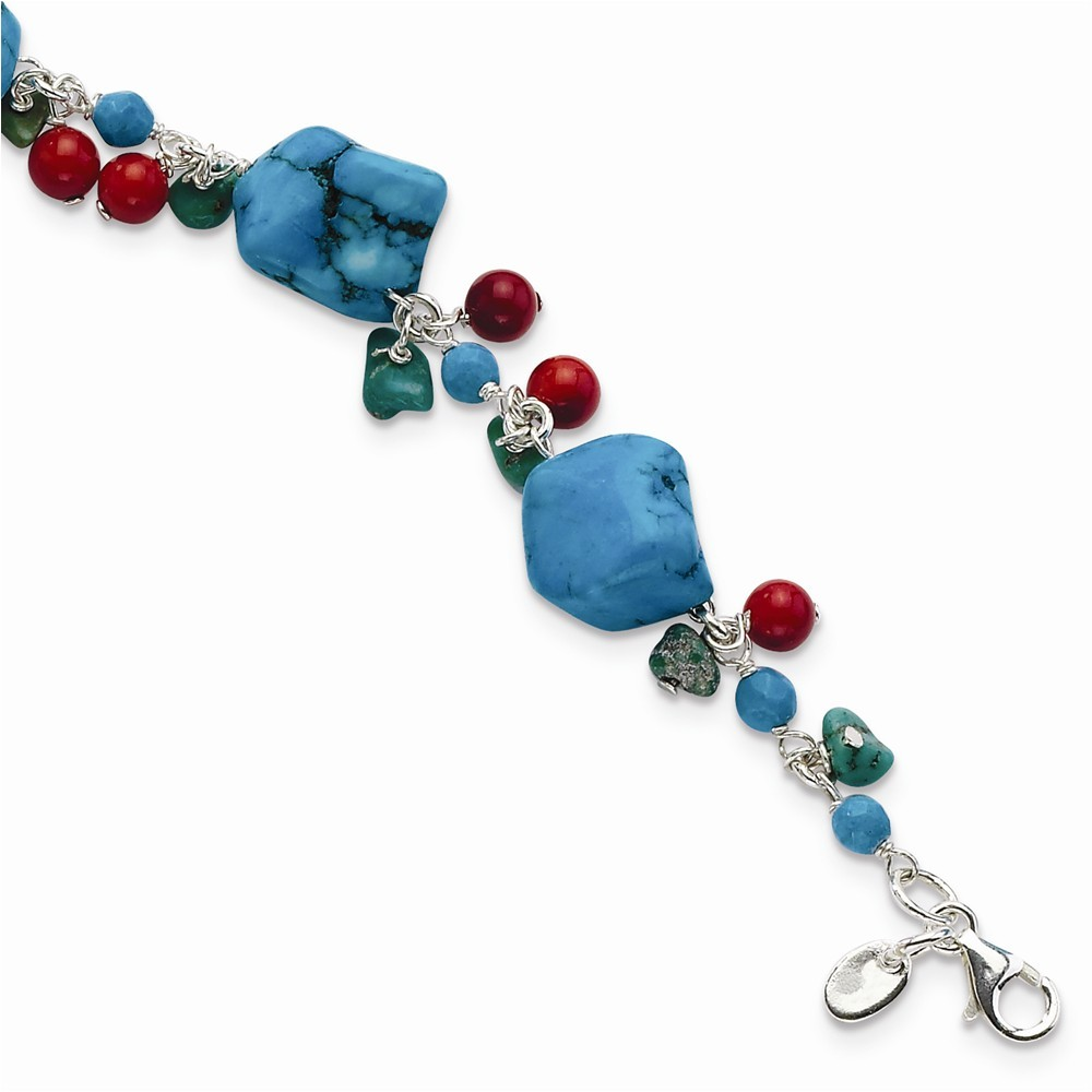 Sterling Silver Dyed Howlite Turquoise Red Coral Bracelet Length 7.5 by