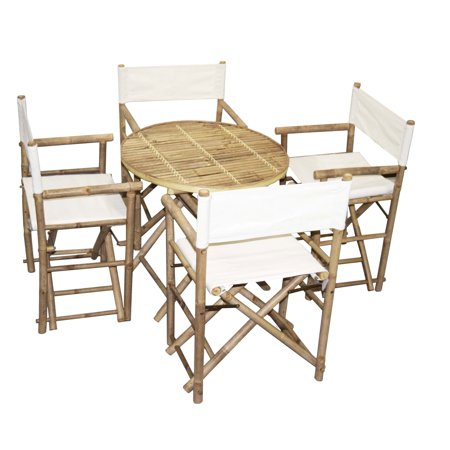 Bamboo Bistro Round Table and 4 Director\'s Chairs Set (Vietnam) 4 ...