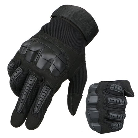Leather Touch Screen Rubber Hard Knuckle Full Finger Gloves Motorcycle