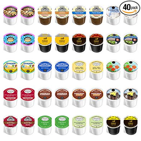 40-count - NEW Everything K cup Variety Pack - Featuring coffee, decaf, flavored, tea, cider, hot chocolate, snapple & cappuccino