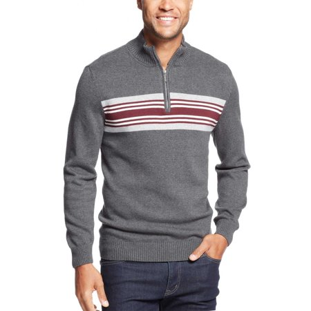 Chest Striped 1/4 Zip Mock Neck Sweater Charcoal Heather