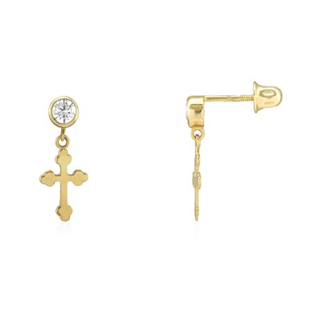 Bezel Set White Zircon Gemstone Dangle Religious Cross Screwback Stud Earrings