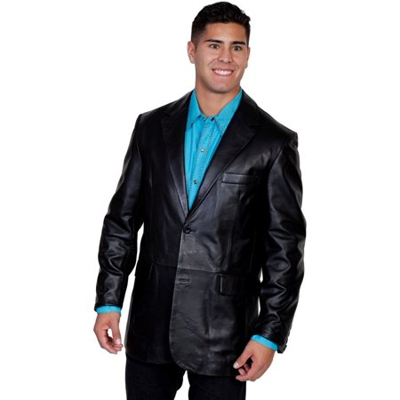 Scully Western Jacket Mens Leather Button Back Vent Onyx 906-198