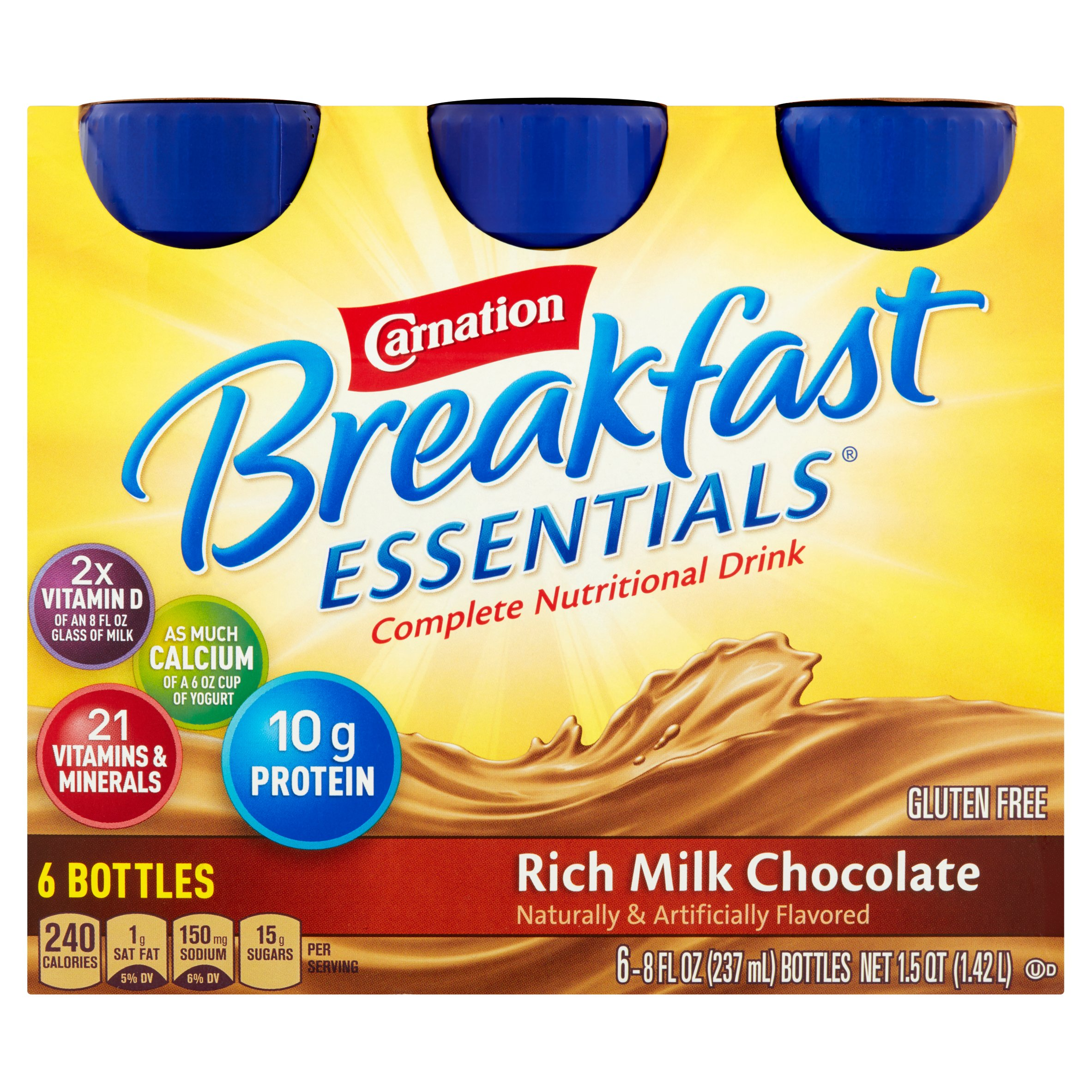 Carnation Breakfast Essentials Rich Milk Chocolate Complete Nutritional Drink, 8 fl oz, 6 count