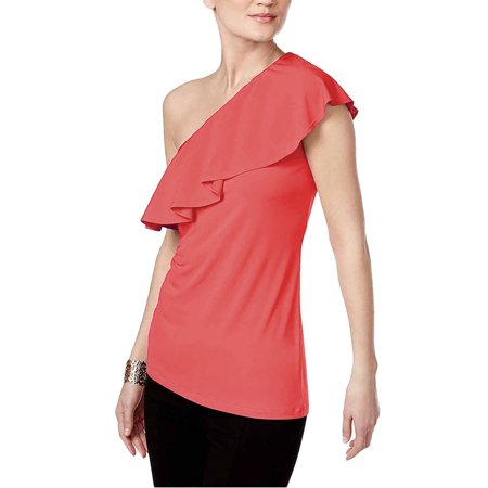 INC International Concepts Womens Ruffled One Shoulder Top CORAL XL
