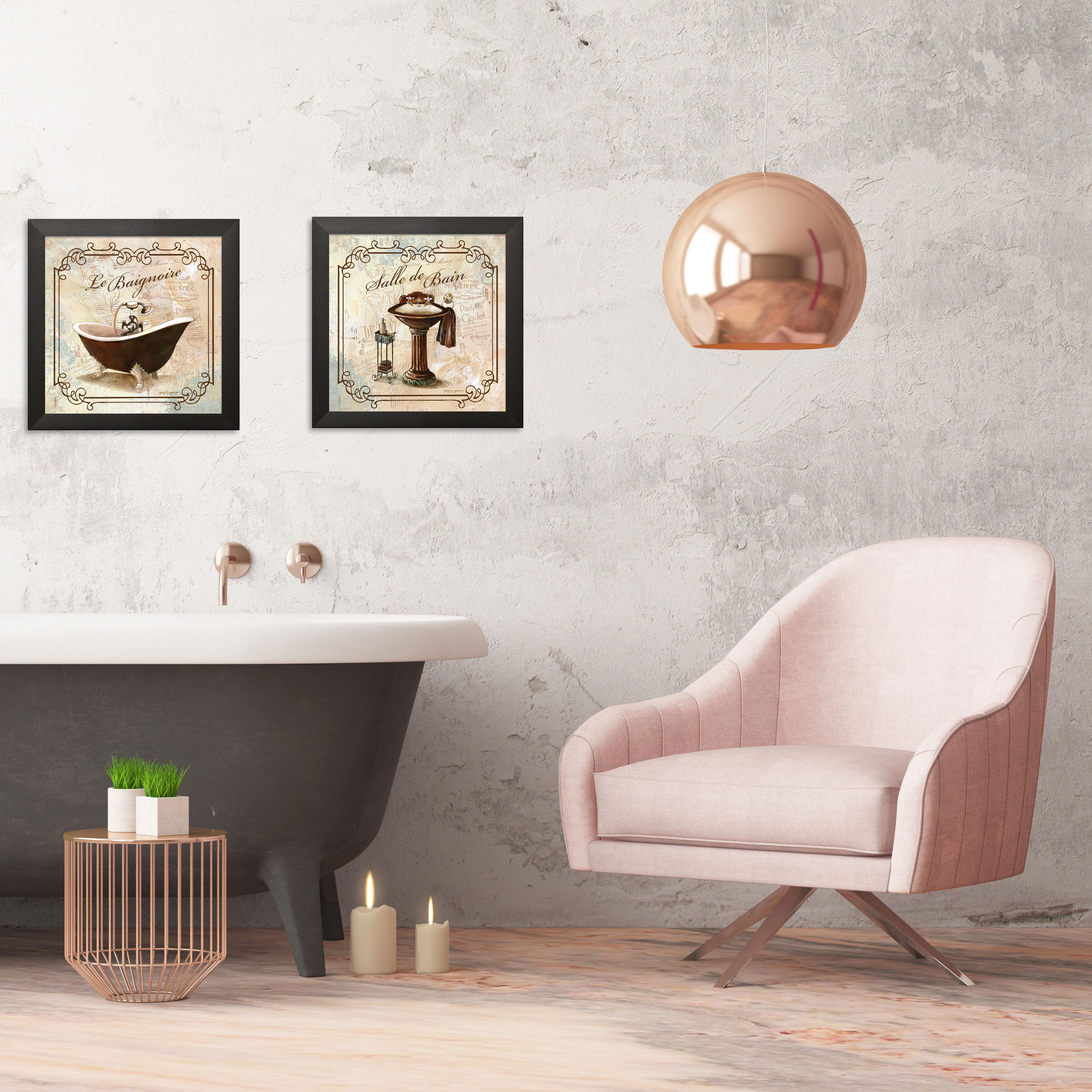Gango Home Decor Elegant French Bathroom Wall Art Two Off