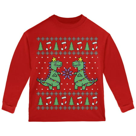 Tree Rex T Rex Ugly Christmas Sweater Toddler Long Sleeve T Shirt (Ugly Christmas Sweater Girls)