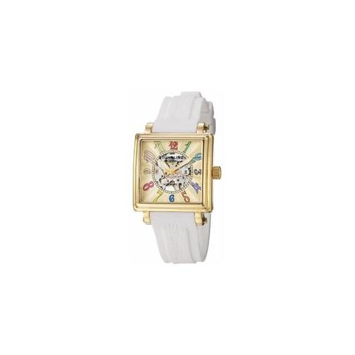 Stuhrling Original 341. 133615 Womens Lady Ozzie Automatic GT Case Ivory Dial and Rubber Purple-Black-White Straps Watch