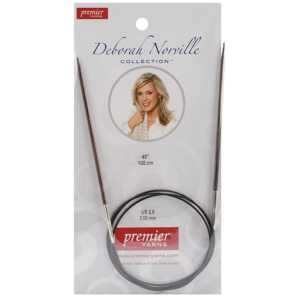 Premier Yarns Deborah Norville Fixed Circular Needles, 40-Inch, 2.5/3.0mm Multi-Colored