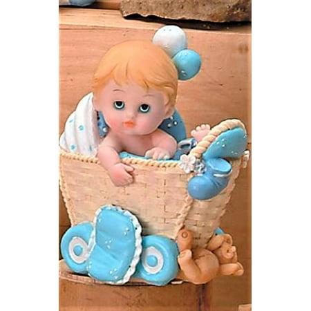 Baby Boy In Bassinet Baby Shower Cake Centerpiece Decoration Gift 5.5