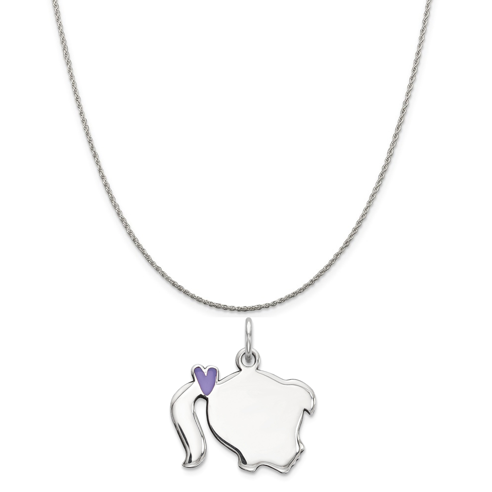 Sterling Silver Polished Finish Purple Enamel Right Facing Girl Head Disc Charm (20 mm x 17 mm) Includes Rope Chain Necklace, 20