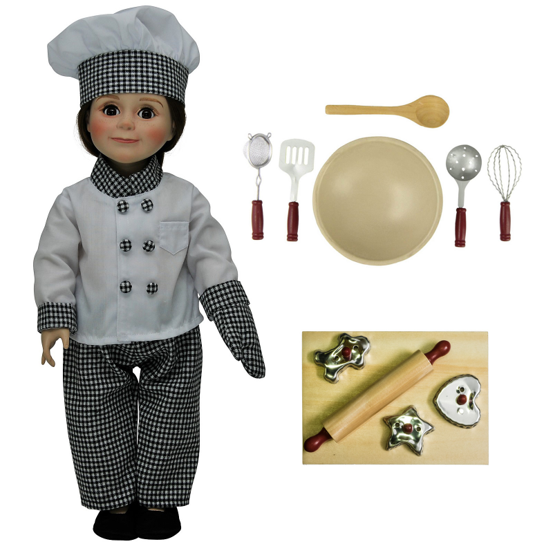 Complete Chef Doll Clothing & 11pc Kitchen Tool Accessory Set. Cookie Cutters, Outfit, Baking Tools, and more! For 18 Inch Dolls