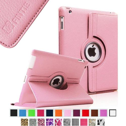Fintie Apple iPad 2/ iPad 3 / iPad 4 Case - 360 Degree Rotating Stand Cover with Auto Wake/Sleep, Pink